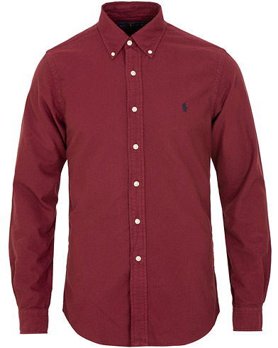Polo Ralph Lauren Slim Fit Garment Dyed Oxford Shirt Classic Wine i gruppen Kläder / Skjortor / Casual / Oxfordskjortor hos Care of Carl (15283611r)