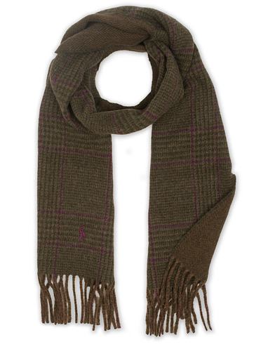 Polo Ralph Lauren Wool Reversible Check Scarf Olive/Glenplaid