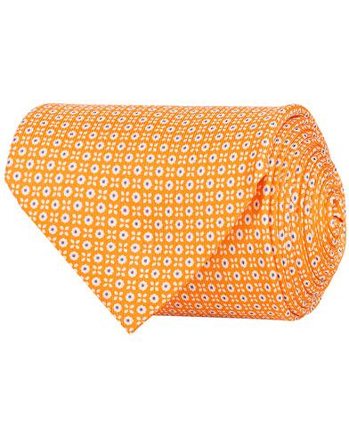 E. Marinella 3-Fold Printed Multi Dot Silk Tie 8 Cm Orange