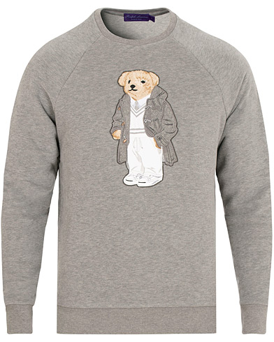 Ralph Lauren Purple Label Luxury Fleece Polo Bear Sweatshirt Light Grey Melange i gruppen Kläder / Tröjor / Sweatshirts hos Care of Carl (15319611r)