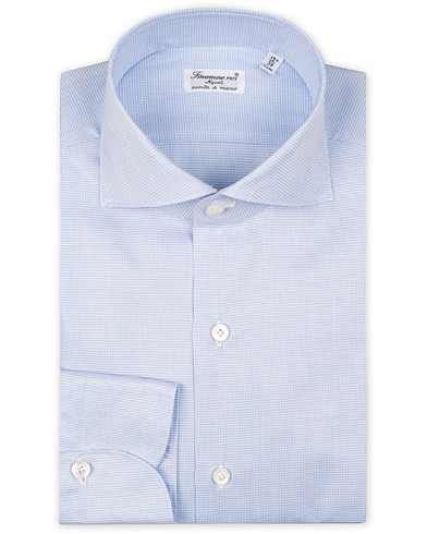 Finamore Napoli Milano Slim Fit Twill Micro Fancy Shirt Light Blue i gruppen Kläder / Skjortor / Formella / Businesskjortor hos Care of Carl (15321611r)