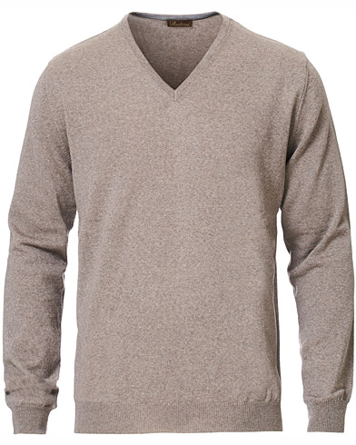 Stenströms Merino V- Neck Pullover Mud Brown