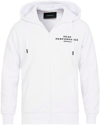 Peak Performance Logo Full Zip Hoodie White i gruppen Kläder / Tröjor / Huvtröjor hos Care of Carl (15409111r)
