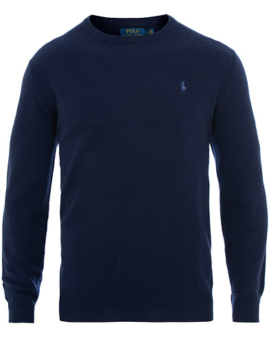 Polo Ralph Lauren Washable Cashmere Crew Neck Bright Navy i gruppen Kläder / Tröjor / Stickade tröjor hos Care of Carl (15430711r)