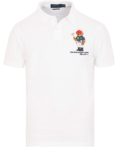 Polo Ralph Lauren Custom Slim Fit Bear Polo White i gruppen Kläder / Pikéer / Kortärmade pikéer hos Care of Carl (15435311r)