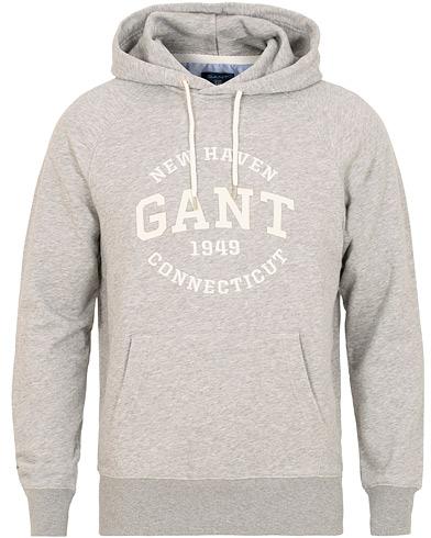 GANT Logo Hoodie Grey Melange