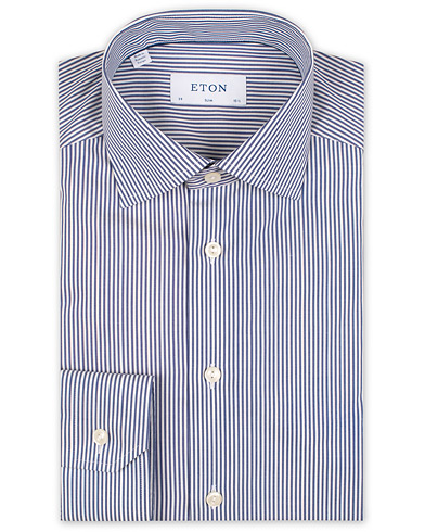 Eton Slim Fit Bengal Stripe Stretch Shirt White/Blue i gruppen Kläder / Skjortor / Formella / Businesskjortor hos Care of Carl (15456111r)