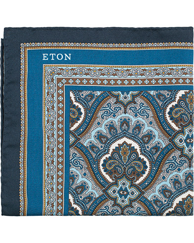 Eton Silk Paisley Print Pocket Square Blue  i gruppen Accessoarer / Näsdukar hos Care of Carl (15458610)