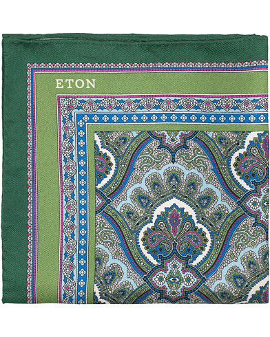 Eton Silk Paisley Print Pocket Square Green  i gruppen Accessoarer / Näsdukar hos Care of Carl (15458810)