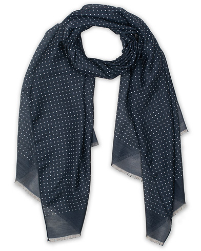 Eton Silk Wool Polka Dot Scarf Blue  i gruppen Accessoarer / Scarves hos Care of Carl (15459110)