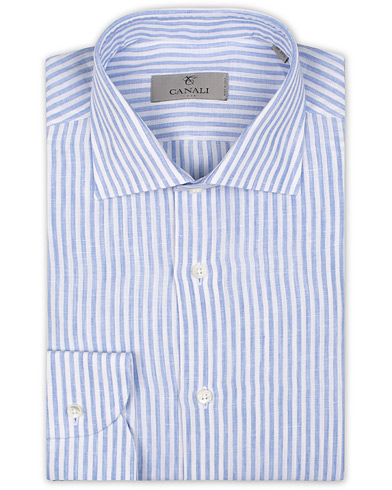 Canali Striped Linen Shirt Light Blue i gruppen Kläder / Skjortor / Formella / Businesskjortor hos Care of Carl (15490411r)