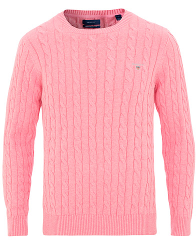 GANT Cotton Cable Crew Neck Light Pink Melange i gruppen Kläder / Tröjor / Stickade tröjor hos Care of Carl (15571511r)