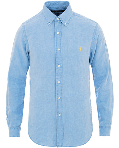 Polo Ralph Lauren Slim Fit Linen Shirt Riviera Blue i gruppen Kläder / Skjortor / Casual / Linneskjortor hos Care of Carl (15592611r)