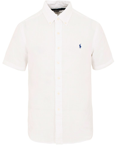 Polo Ralph Lauren Slim Fit Linen Short Sleeve Shirt Pure White i gruppen Kläder / Skjortor / Casual / Kortärmade skjortor hos Care of Carl (15593211r)