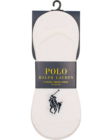 Polo Ralph Lauren 3-Pack No Show Big Pony Pony Socks White  i gruppen Kläder / Underkläder / Strumpor / Ankelstrumpor hos Care of Carl (15607910)