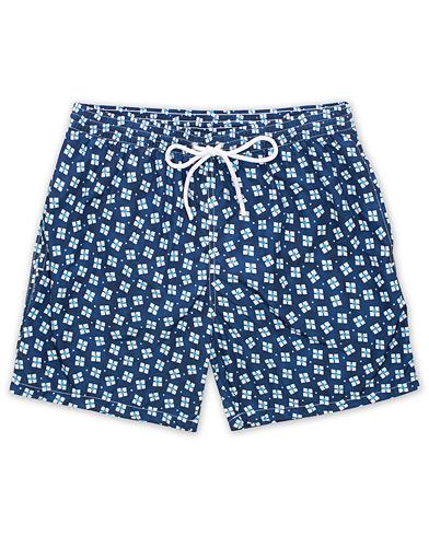 Barba Napoli Square Print Swim Shorts Navy