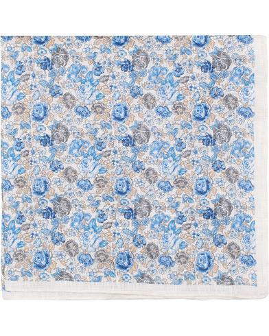 Amanda Christensen Linen Printed Flower Pocket Square White