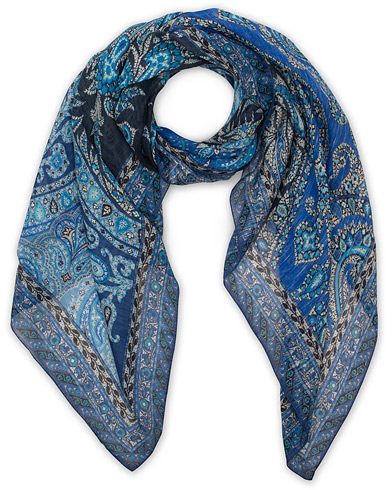Etro Printed Linen/Silk Scarf Blue  i gruppen Accessoarer / Scarves hos Care of Carl (15685310)