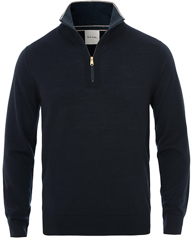 Paul Smith Half Zip Merino Sweater Navy i gruppen Kläder / Tröjor / Zip-tröjor hos Care of Carl (15694511r)