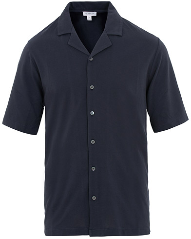 Sunspel Short Sleeve Pique Shirt Navy