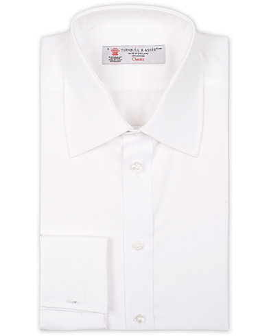 Turnbull & Asser Regular Fit Double Cuff Poplin Shirt White i gruppen Kläder / Skjortor / Formella / Businesskjortor hos Care of Carl (15714011r)