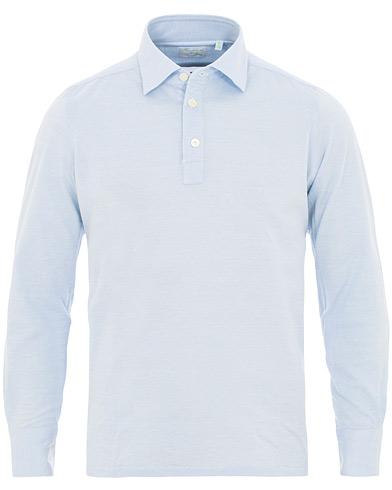 Finamore Napoli Orlando Long Sleeve Polo  Light Blue