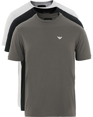 Emporio Armani 3-Pack Crew Neck Tee Grey/Black i gruppen Kläder / T-Shirts / Kortärmade t-shirts hos Care of Carl (15759611r)
