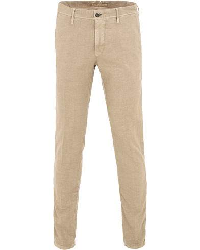 Incotex Slim Fit Cotton/Linen Slacks Beige i gruppen Kläder / Byxor / Linnebyxor hos Care of Carl (15764711r)