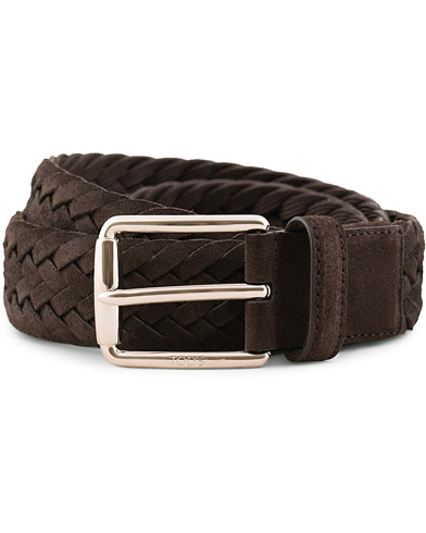 Tod's Intreccio Woven Belt Dark Brown Suede i gruppen Accessoarer / Bälten / Flätade bälten hos Care of Carl (15766711r)