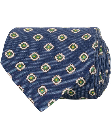 Drake's Self Tip Silk/Linen 8 cm Tie Blue  i gruppen Accessoarer / Slipsar hos Care of Carl (15769610)