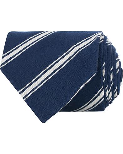 Drake's Hand Rolled Silk/Cotton 8 cm Tie Navy