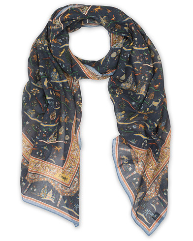 Drake's Cotton/Modal Small Animals Scarf Navy  i gruppen Accessoarer / Scarves hos Care of Carl (15776410)