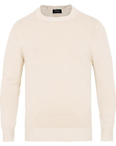 Drake's Cotton Crew Neck Knit White