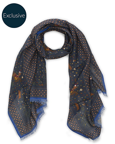 Drake's MTO Wool/Silk Printed Scarf Navy  i gruppen Accessoarer / Scarves hos Care of Carl (15778610)