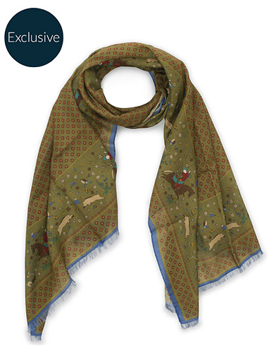 Drake's MTO Wool/Silk Printed Scarf Green  i gruppen Accessoarer / Scarves hos Care of Carl (15778710)