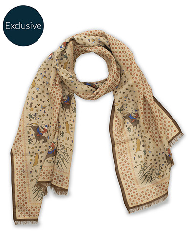 Drake's MTO Wool/Silk Printed Scarf Beige  i gruppen Accessoarer / Scarves hos Care of Carl (15778810)