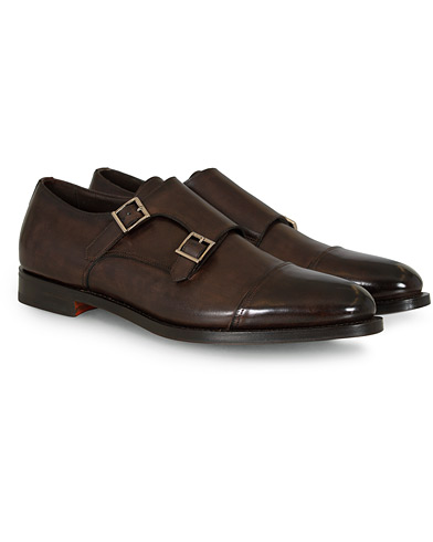 Santoni Wilson Double Monk Dark Brown Calf i gruppen Skor / Munkskor hos Care of Carl (15785811r)
