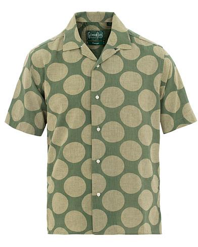 Gitman Vintage Cotton/Linen Polka Dot Camp Collar Shirt Olive