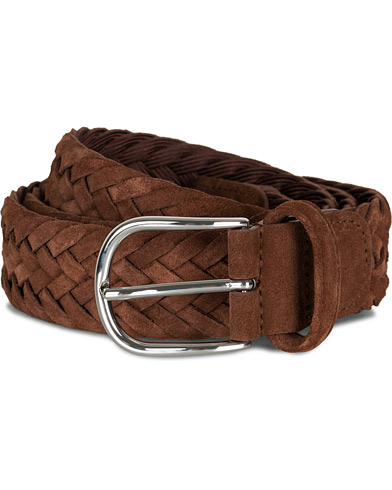 Anderson's Woven Suede 3,5 cm Belt Light Brown i gruppen Accessoarer / Bälten / Flätade bälten hos Care of Carl (15812511r)