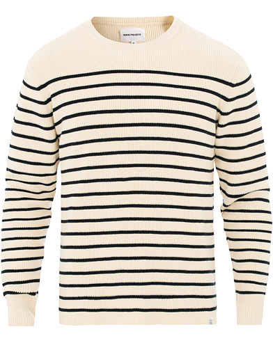 Norse Projects Verner Normandy Cotton Stripe Pullover Ecru