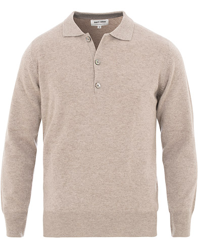 Soft Goat Cashmere Collar Sweater Light Taupe