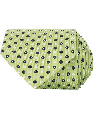 E. Marinella 3-Fold Micro Fantasy 8 cm Silk Tie Light Green   i gruppen Accessoarer / Slipsar hos Care of Carl (15865010)