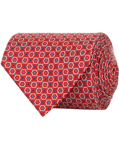 E. Marinella 3-Fold Micro  Fantasy 8 cm Silk Tie Red   i gruppen Accessoarer / Slipsar hos Care of Carl (15865310)