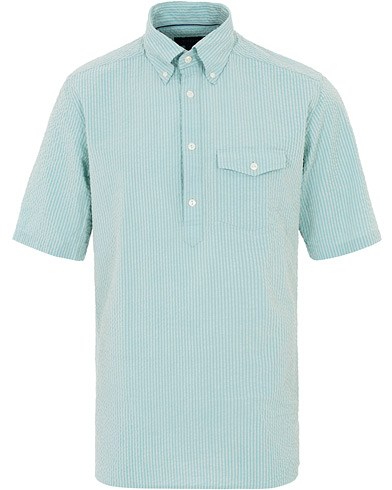 Eton Slim Fit Short Sleeve Seersucker Shirt Green i gruppen Kläder / Skjortor / Casual hos Care of Carl (16011611r)