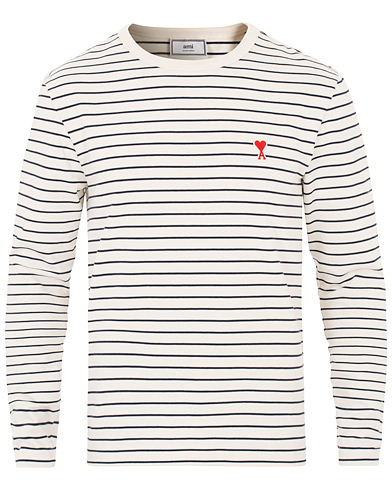 AMI Striped Long Sleeve Sweater Ecru/Marine i gruppen Kläder / Tröjor / Stickade tröjor hos Care of Carl (16043211r)