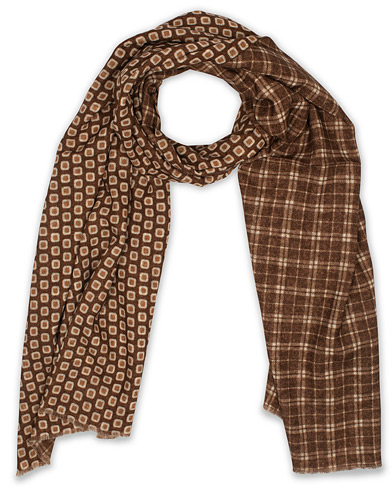 Altea Double Side Printed Wool Scarf Brown  i gruppen Accessoarer / Scarves hos Care of Carl (16081910)