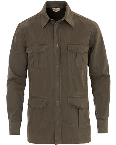 Aspesi Military Pocket Overshirt Dark Green i gruppen Kläder / Skjortor / Casual hos Care of Carl (16083311r)