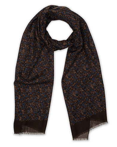 Amanda Christensen Wool Printed Flowers Scarf Brown  i gruppen Accessoarer / Scarves hos Care of Carl (16098210)