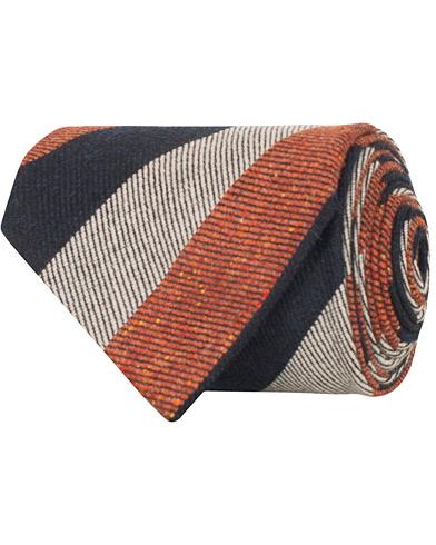 Amanda Christensen Wool/Silk Block Stripe Donegal Tie 8 cm Rust