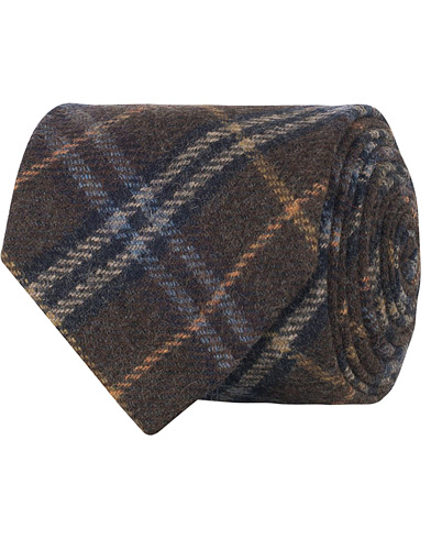 Amanda Christensen Woven Wool Checked Tie 8 cm Brown  i gruppen Accessoarer / Slipsar hos Care of Carl (16100210)